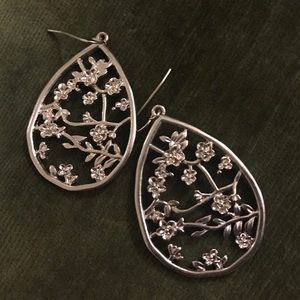 Silver Earrings with Ornate Floral Design